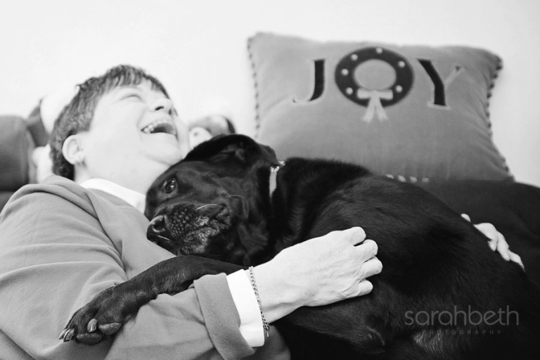 joy service dog laughing smiling